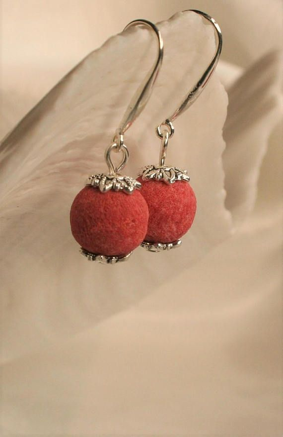 Coral earrings Red coral earrings Red earrings Gift for her