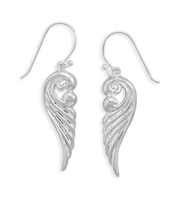 Polished Ornate Angel Wing Earrings