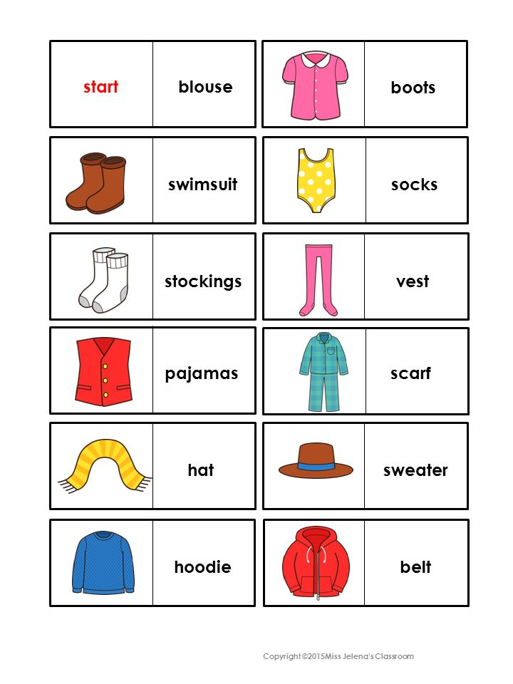 Clothes Domino Game My TpT Products Kindergarten