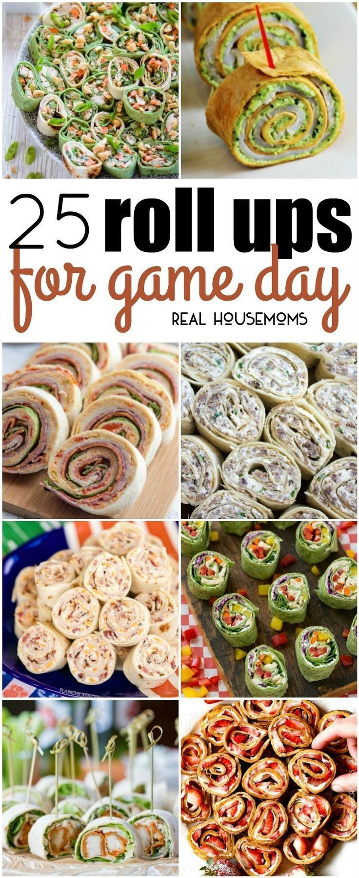 25 Roll Ups for Game Day. Finger foods, football games, pinwheel appetizers, party menu, crowd go wild! #Roundups #Gamedayppetizers #Rollups #Realhousemoms