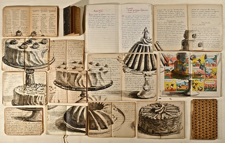 Paintings done on books and hung on a wall. So cool!