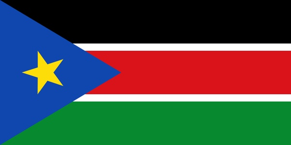 The flag of South Sudan was adopted following the signing of the Comprehensive Peace Agreement that ended the Second Sudanese Civil War.The flag was previously used for the Sudan People's Liberation Movement. The flag bears striking similarities with both the flags of Sudan and Kenya.It shares black,white,red,green of the Sudanese flag and having a chevron along the hoist.Horizontal black,white,red,green bands of the flag share same design as the Kenyan flag,and Pan-African symbolism thereof