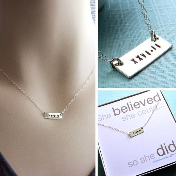 Hand Stamped Bar Necklace Marathon 1/2 by ShopSomethingBlue