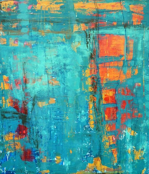 turquoise abstract with orange and gold peeking through