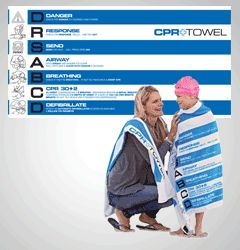 Towel with CPR instructions on it - brilliant!