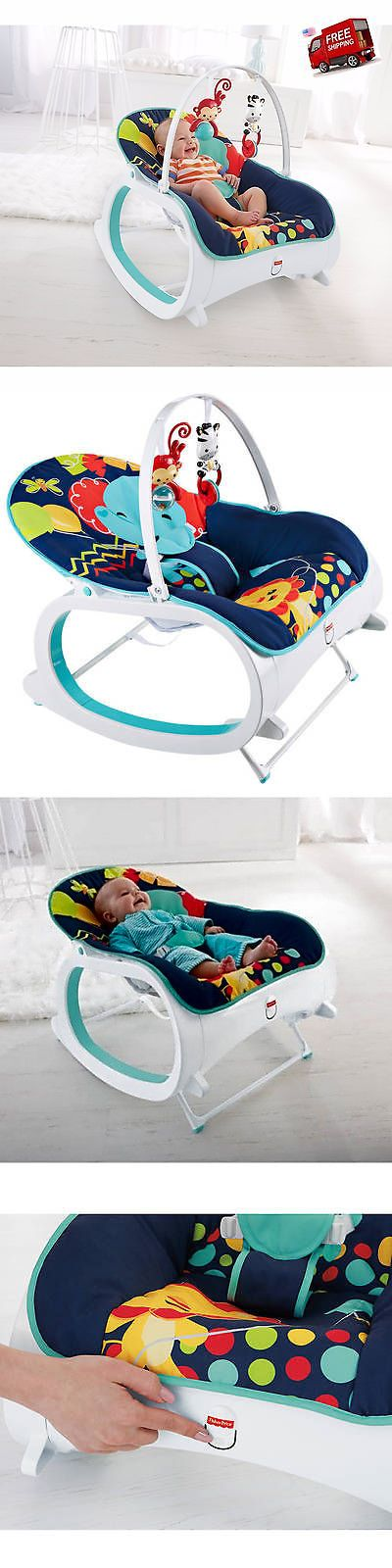 baby and kid stuff: Fisher Price Infant To Baby Seat Bouncer Toddler Rocker Chair Sleeper Toy Blue -> BUY IT NOW ONLY: $46.89 on eBay!