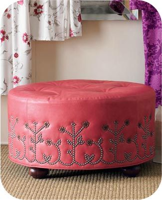 GREAT design ideas for using upholstery nails to give old furniture new life. Gonna get to work on my dresser & headboard in the next few weeks! Yay!  Cute in Kodi's rhinestone cowgirl room