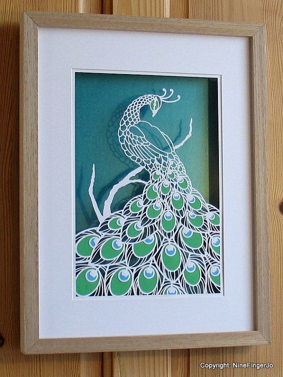 PERSONAL PNG Peacock Paper Cut Template by NineFingerJo on Etsy