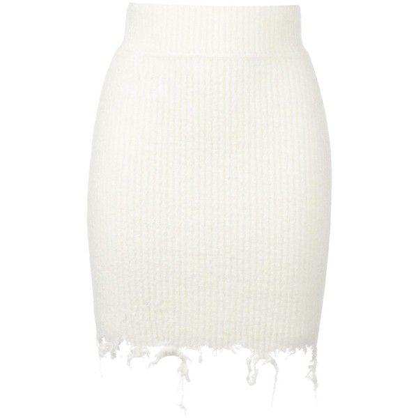 Yeezy Season 3 destroyed boucle mini skirt ($639) ❤ liked on Polyvore featuring skirts, mini skirts, white, white skirt, adidas originals, ripped skirt, distressed skirt and mini skirt