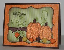handmade card ... Autumn theme ... orange and green ... paper pieced pumpkiins from ovals ... punched maple leaves ... Stampin' Up!