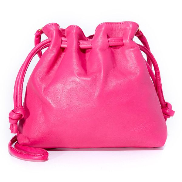 Clare V. Petite Henri Drawstring Bag ($295) ❤ liked on Polyvore featuring bags, handbags, tote bags, pink handbags, clare v handbags, pink tote, fuschia purse and pink tote bags