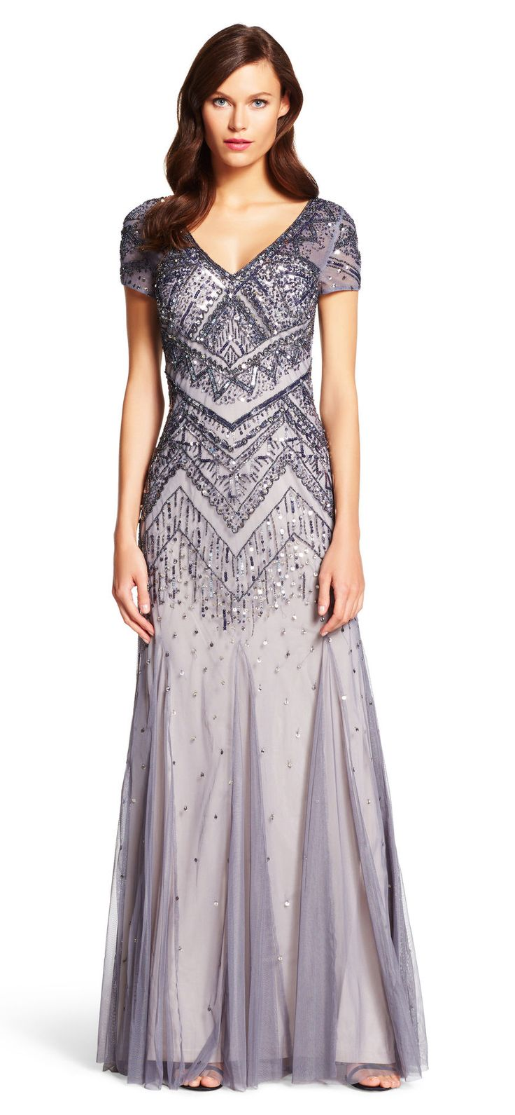 Beaded Mesh Mermaid Gown - Adrianna Papell