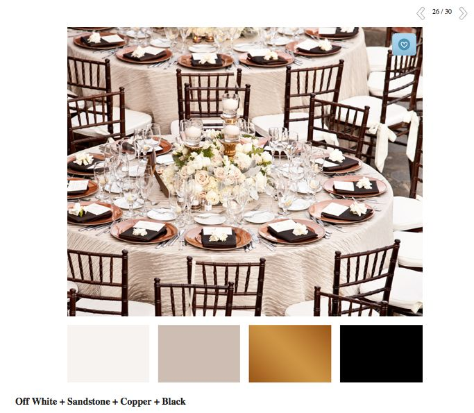 Color pairings we love you will too neutral wedding for Table linen color combinations