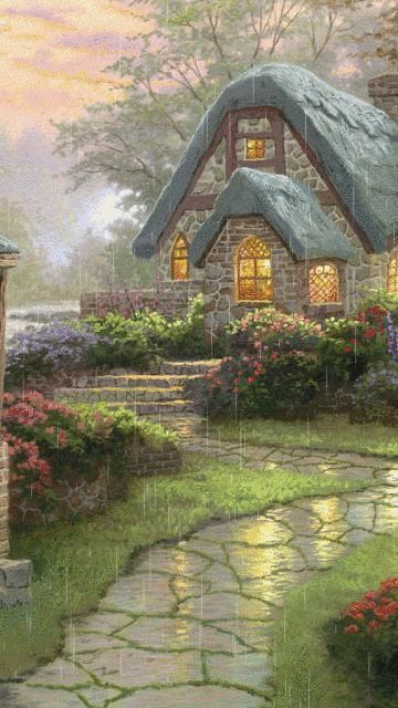 Rain outside an English cottage.