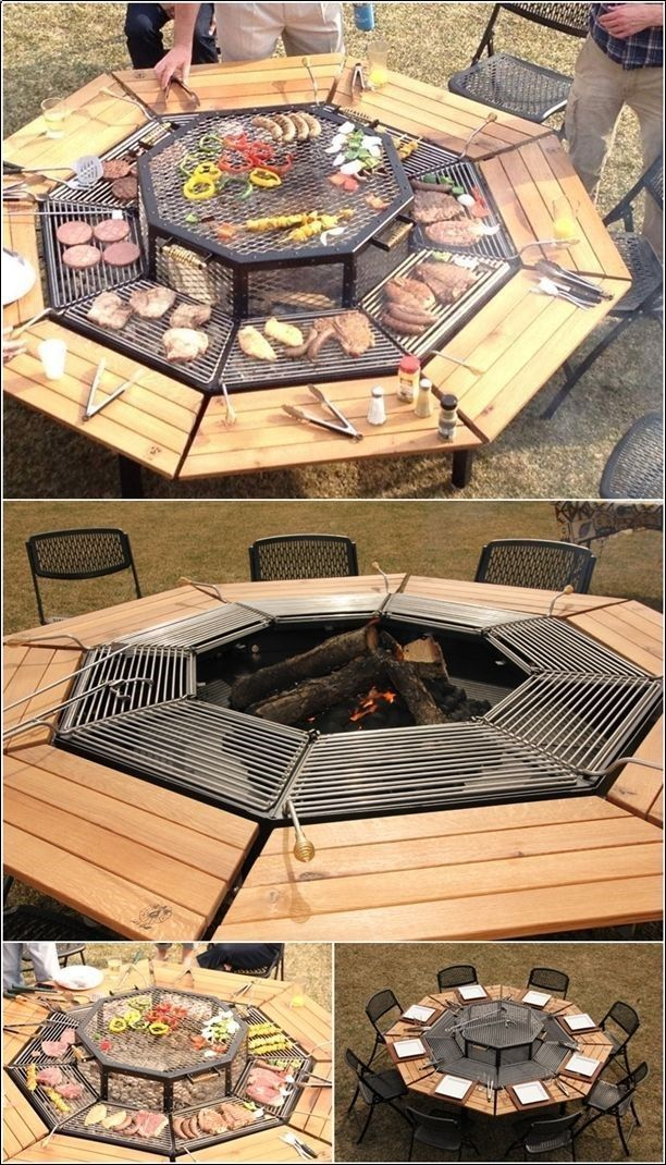 Table and fire pit combo