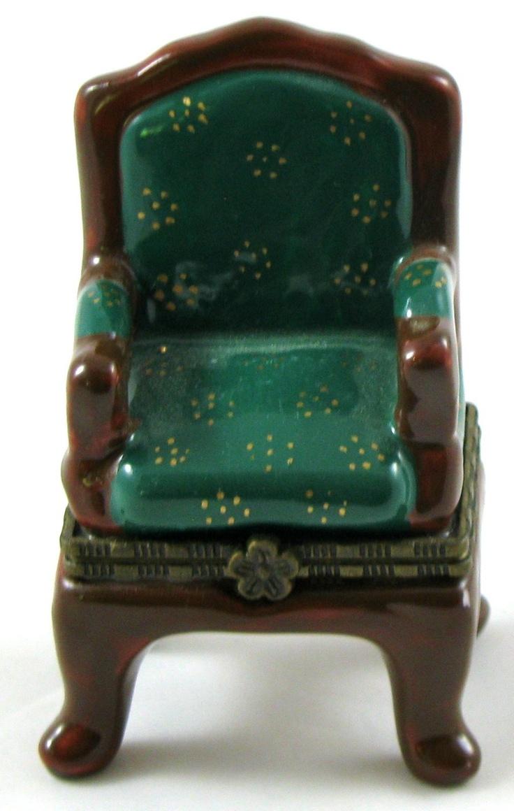 Miniature Green Padded ARM CHAIR Hinged Ceramic TRINKET