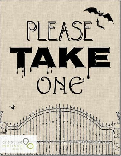 halloween just take one candy sign