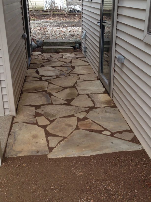 Exterior How To Lay Stone Walkway How To Lay Flagstone Walkway How To Flagstone Path Rustic Walkways How To Lay Flagstone Flagstone Walkway With Pea Grave Flagstone Walkway Design for Formal and Casual Outdoor Look