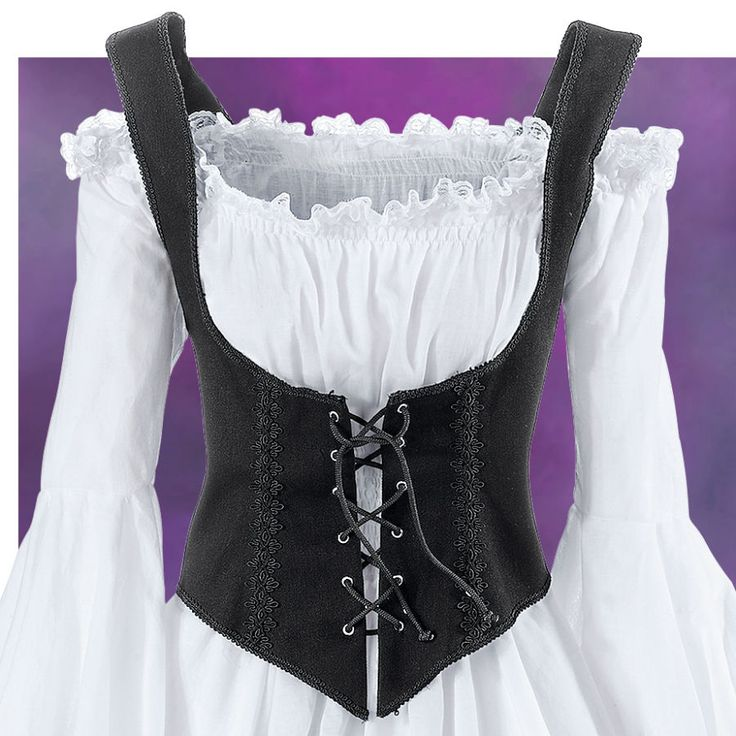 Black Twill Bodice The Pirate Queen Bodice Exclusive! Presenting the classic bodices! Tailored in premium cotton twill, its flexible front boning and cross-corded, lace-up front assure flattering support and comfort, with decorative braiding and piping. Poly/cotton. Dry clean. Made in USA. Colors: Black, Purple. ~ Another I am thinking about ordering for my back problems. LD.