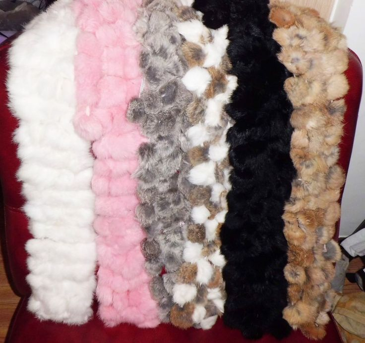 (Buy Two Get Third Free)New Lady Handmade Scarf With Four Row Of Rabbit FurBalls #Handmade #Scarf