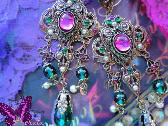 Rose fuchsia & émeraude vert Renaissance Filigree Earrings, gitane Fortune Teller boucles d