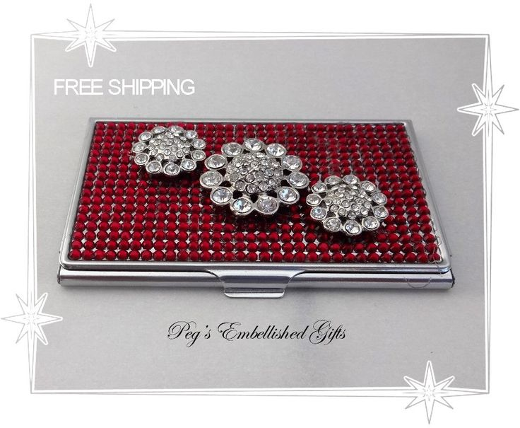 Rhinestone Business Card Holder, Metal Business Card Case, Credit Card Holder, Credit Card Case, Swarovski Rhinestone Case, Flower Case - pinned by pin4etsy.com