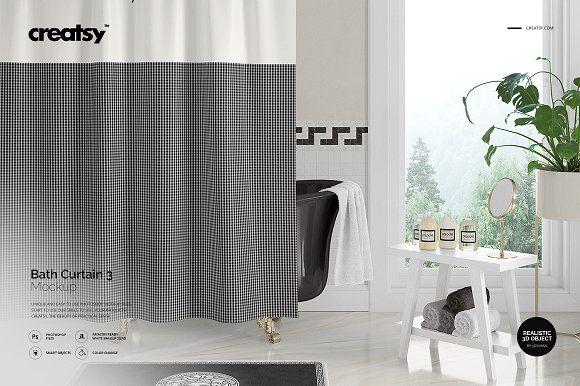 Bath Curtain Mockup 3 Curtains Design Design Projects