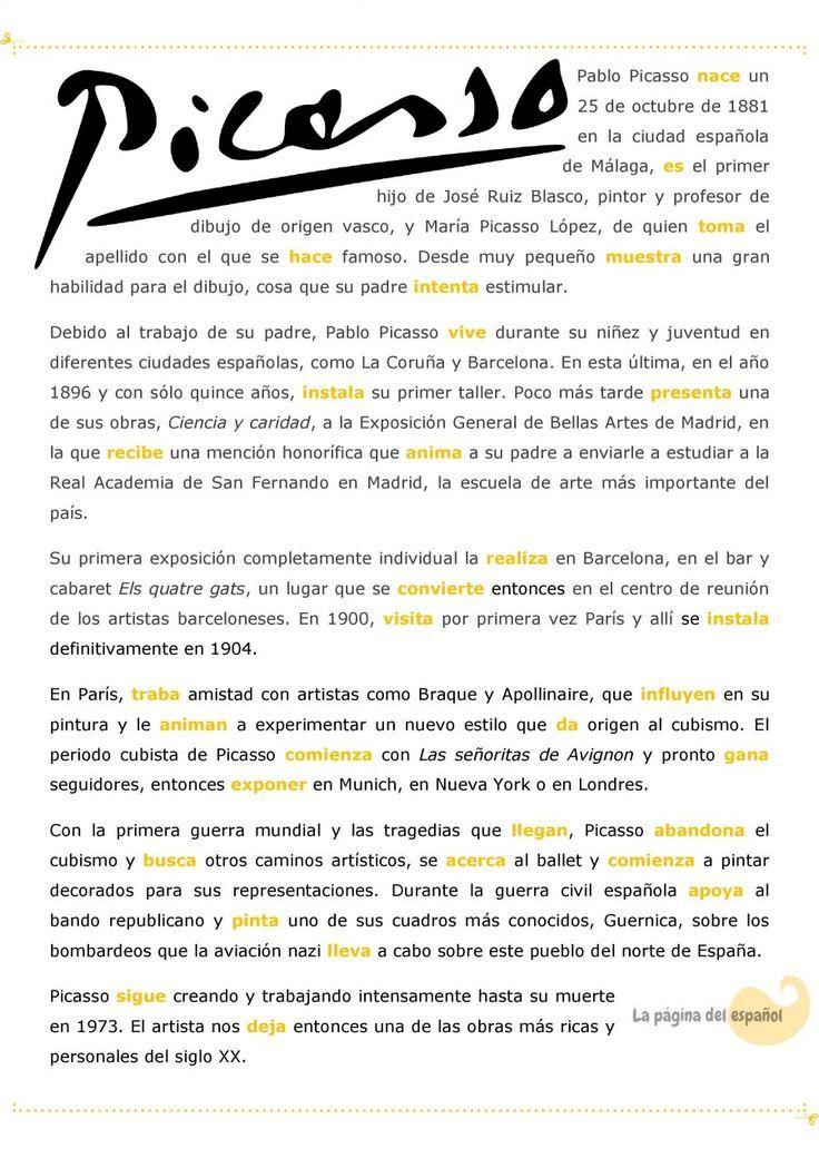 Una biografía de Picasso para practicar el pretérito indefinido / La página del español