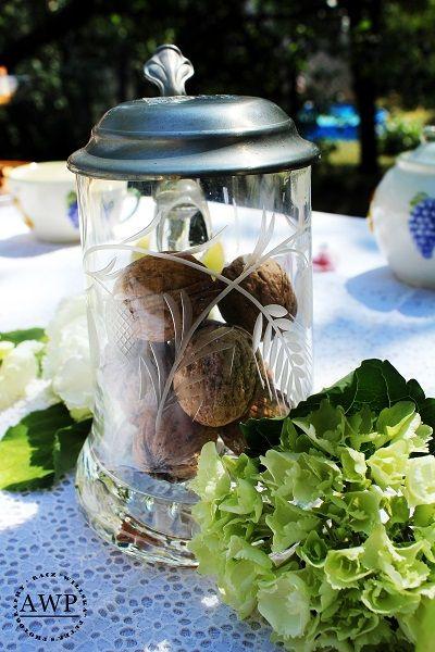 nuts with green hydrangeas