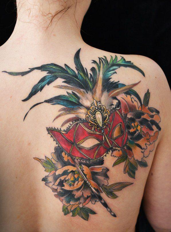 Venetian Mask Tattoo On Back Shoulder photo - 1