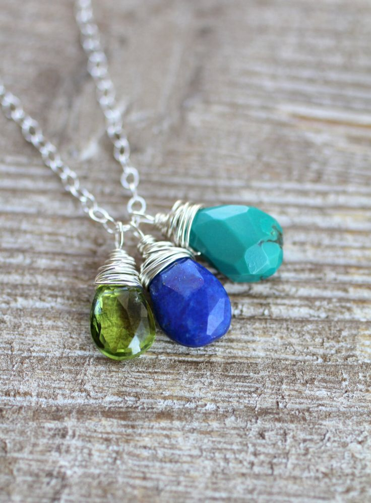 Mother's Necklace, Birthstone Necklace, Three Custom Gemstones, Sterling Silver Chain, Faceted Briolette Gemstones, Semi Precious, Mom Gift by LRoseDesigns on Etsy https://www.etsy.com/listing/70675449/mothers-necklace-birthstone-necklace