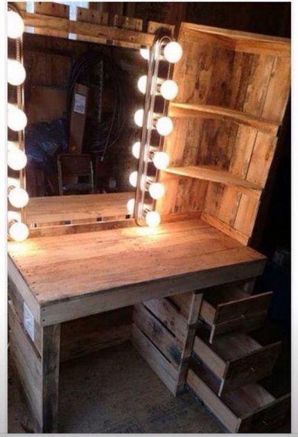 20 Ideas Makeup Organization Wood Floating Shelves Makeup Bedroom Diy Home Diy Pallet Vanity