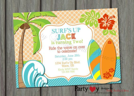 Surfer Surf's Up Birthday Invitation by PartyInvitesAndMore