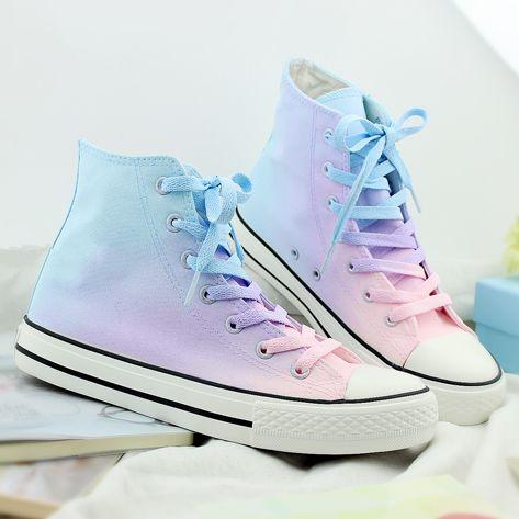 Japanese harajuku galaxy gradient hand-painted canvas shoes