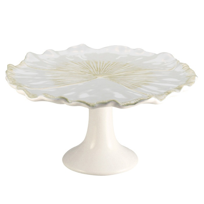 Pansy Cake Plate in Linen