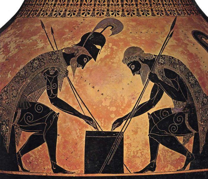 Waza czarnofigurowa z przedstawieniem Achillesa i Ajaksa grających w kości