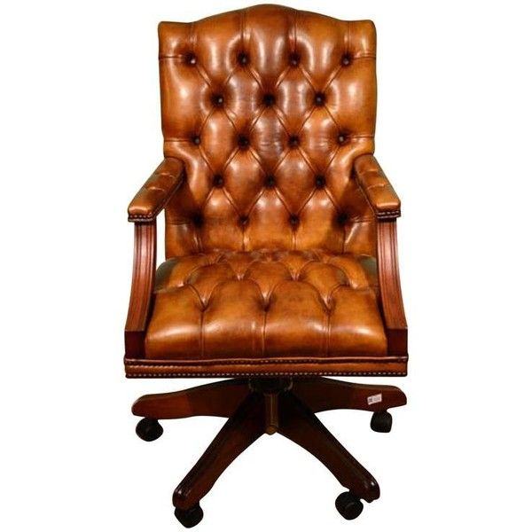 English Handmade Gainsborough Leather Desk Chair Cognac ($1,792) ❤ liked on Polyvore featuring home, furniture, chairs, office chairs, brown, brown leather office chair, leather armchair, brown armchair, adjustable desk chair and brown leather arm chair