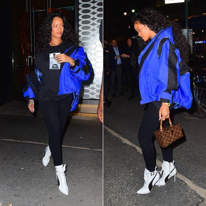 Rihanna Balenciaga blue off shoulder parka jacket, Roc Nation Clearport t-shirt, Fenty x Puma white high heel sneaker boot, Louis Vuitton Twisted Box handbag