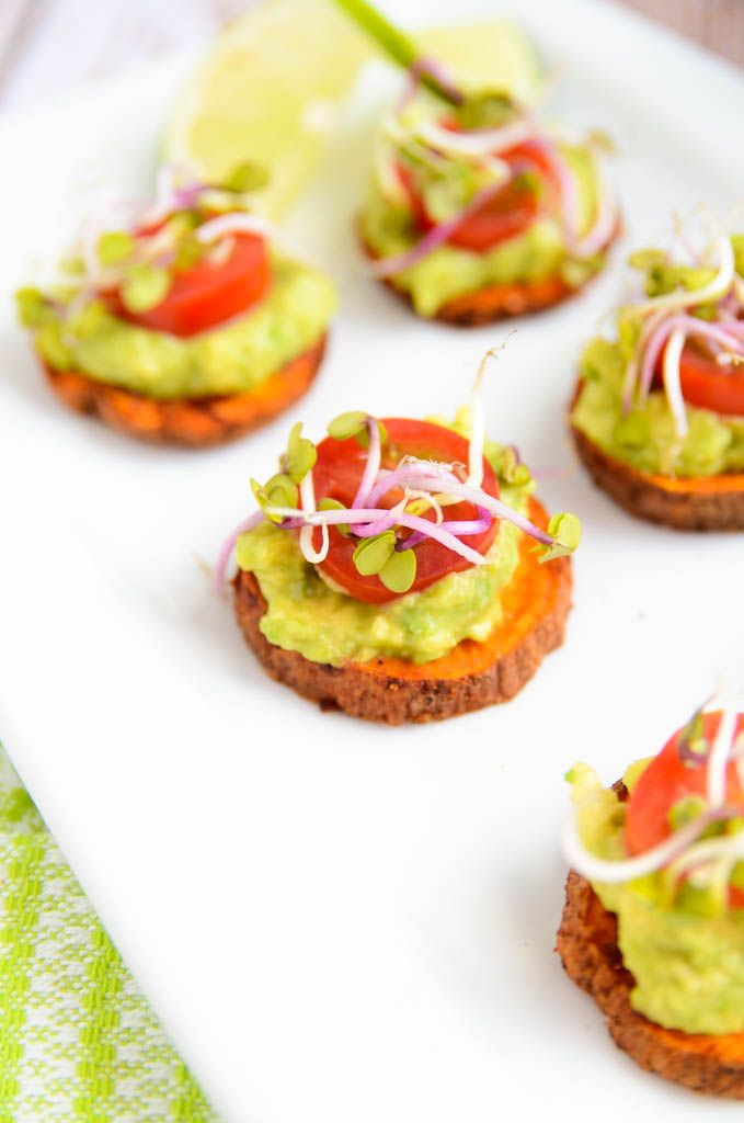 Sweet Potato + Avocado Bites from blissfulbasil.com Yum! These are easy and nutritious and are perfect for a gourmet snack. Healthy fats from the avocados and tons of Vitamin A from the sweet potato will leave you feeling great.