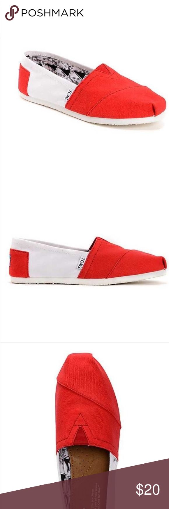 WOMENS TOMS UNIVERSITY OF WISCONSIN SLIP ON University of Wisconsin colorway. Cardinal and white upper. Lightweight canvas construction. Elastic V on top for easy in and out. Suede footbed for extra cushion and comfort. Light one piece outsole for better flexibility. Built in latex arch for extra support. Toms tag on back and side. Officially licensed by the Collegiate Licensing Company.shipped without box TOMS Shoes Flats & Loafers