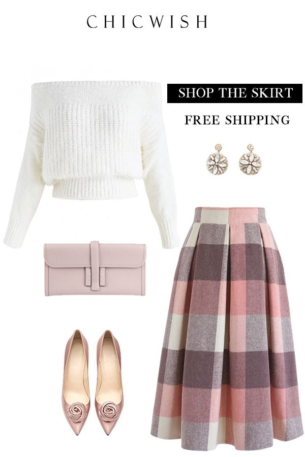 310bcabb63 Free Shipping & Easy Return.Greatest Embrace Check Wool-Blend Midi Skirt. # skirt # woolskirt #winteroutfit #partyskirt #cuteskit #elegant