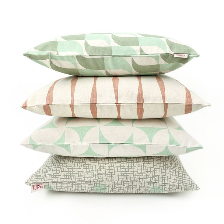 Mint and Shell cushion covers by Skinny laMinx add a fresh and light feel to your home. Featured are the 'Aperture' and 'Breeze' designs from the BRISE SOLEIL collection.