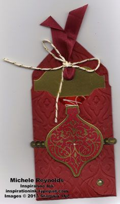 Handmade gift card holder using Envelope Punch Board and Ornament Keepsakes Set from Stampin' Up!