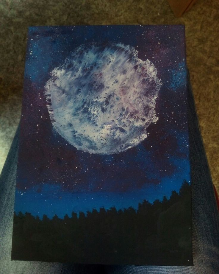 Moon, paint, draw, practice, stars, space, forest