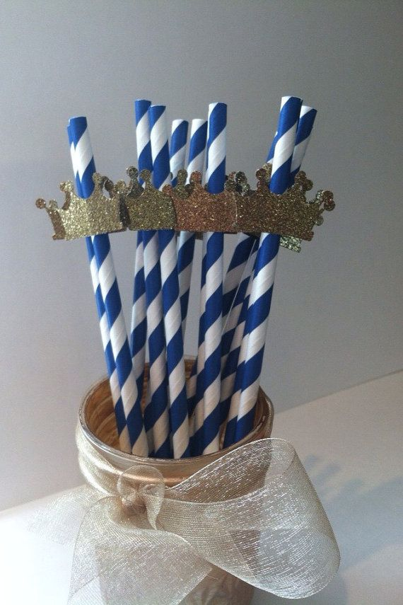 20 Little Prince or Princess Gold Glitter Crowns on Royal Navy Blue Stripe Paper Straws for Birthday, Shower, Engagement,Party