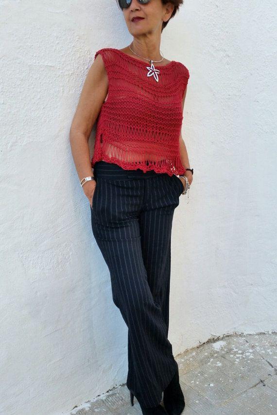 Red knit tank top cotton sweater loose sweater for women por EstherTg