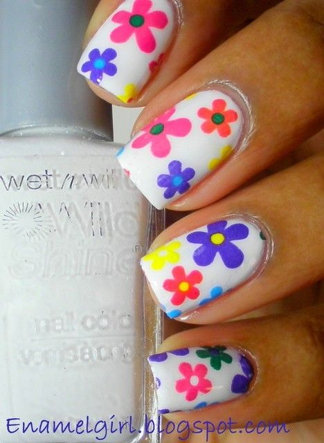 White Nails with Multi color simple spring flowers nails - variation of dot flowers simple floral, dotting technique, free hand nail art