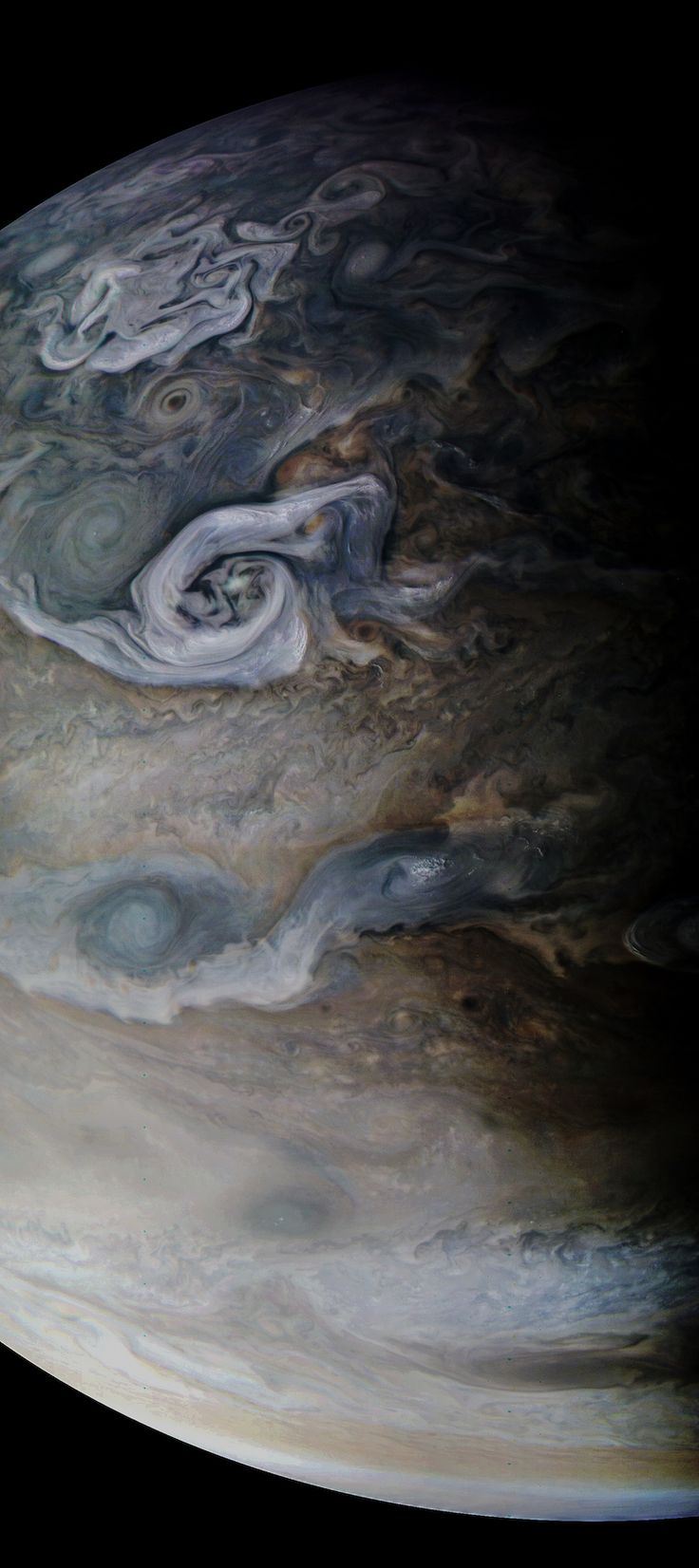 Jupiter as seen by Juno on October 24, 2017. Image via NASA/ JPL-Caltech/ MSSS/ SwRI/ Kevin M. Gill/ AmericaSpace.