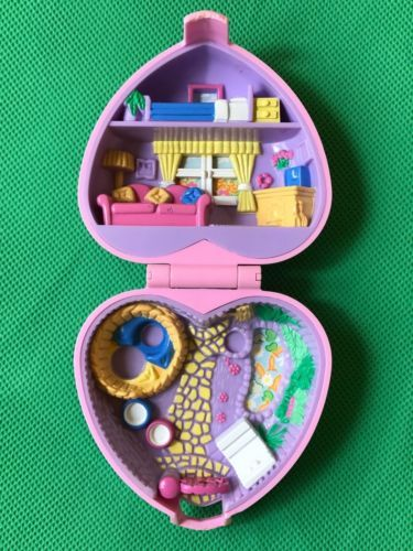 Bluebird Polly Pocket Vintage 1993 Kozy Kitties Pink Heart Shaped Compact Only