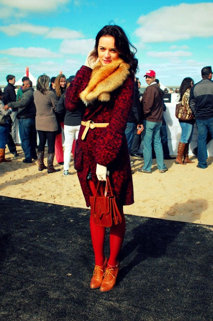 Red and brown for fall. Chicago Street Style, Vintage Fur - North Avenue Beach